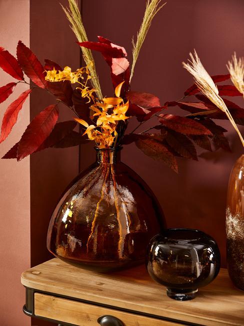 jesenná výzdoba: kvety vo váze