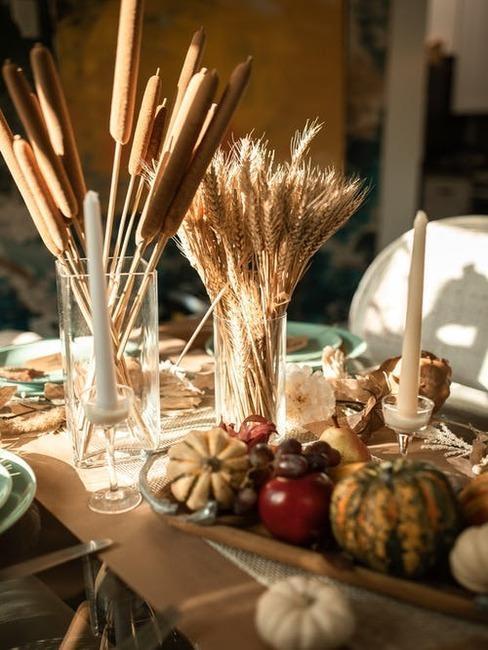 Jesenné dekorácie na stole