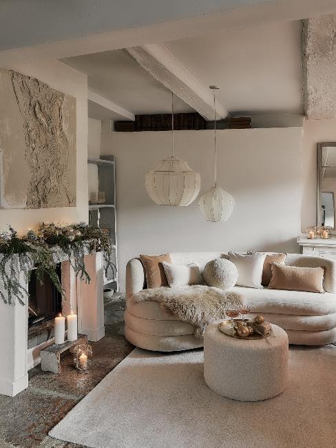 krémová obývačka na Vianoce