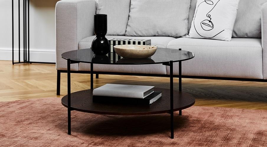 Couchtisch Hochglanz Schwarz Metall Sofa