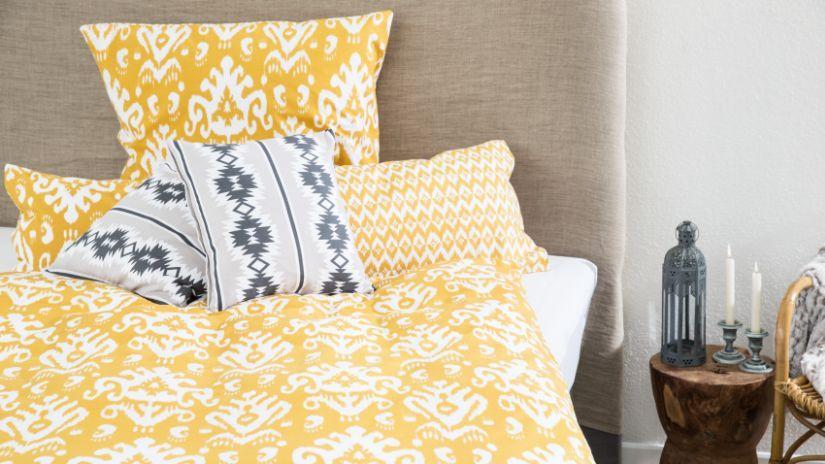 Parure de lit en coton jaune et blanche