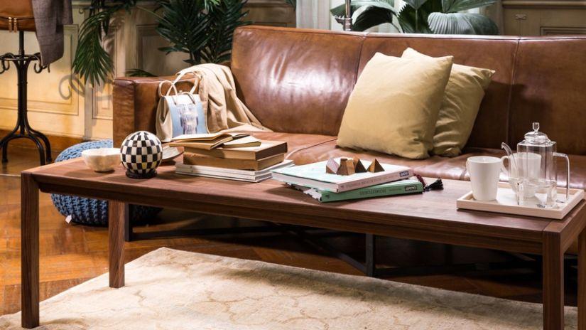 Canapé marron clair en cuir