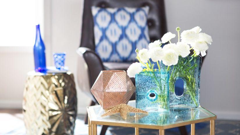 Vase bleu turquoise en verre
