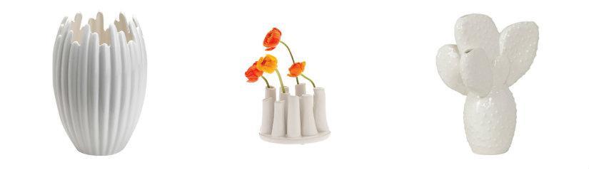 Vases blancs aux formes originales