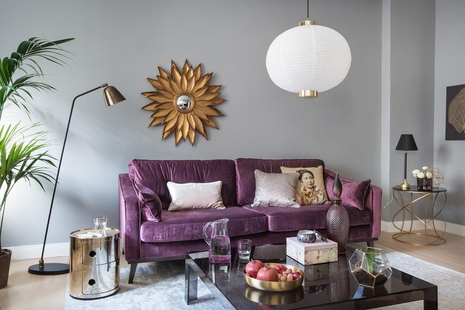 canapé violet en velours