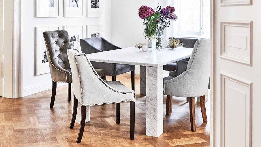 fauteuils de salle à manger gris en tissu
