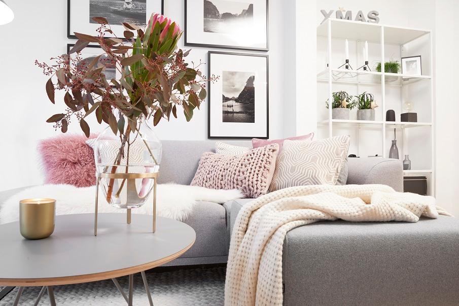 canapé d'angle scandinave gris clair