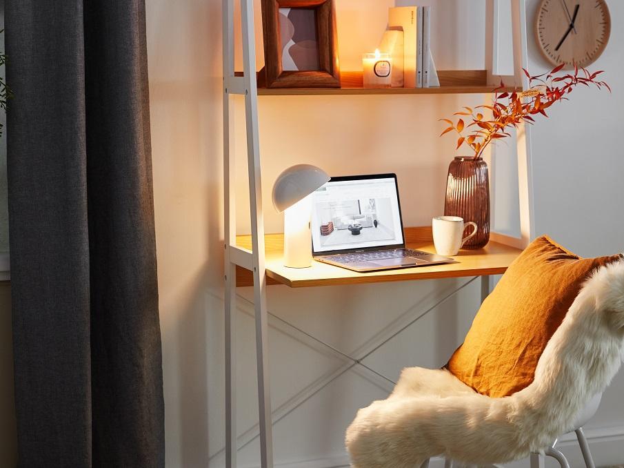 bureau d'appoint blanc et bois style scandinave