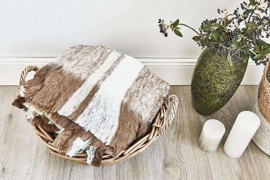 plaid chaid beige et marron en laine