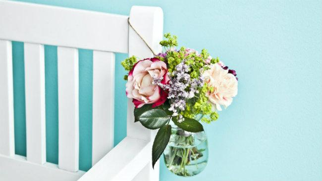 linguaggio dei fiori vaso trasparente panca