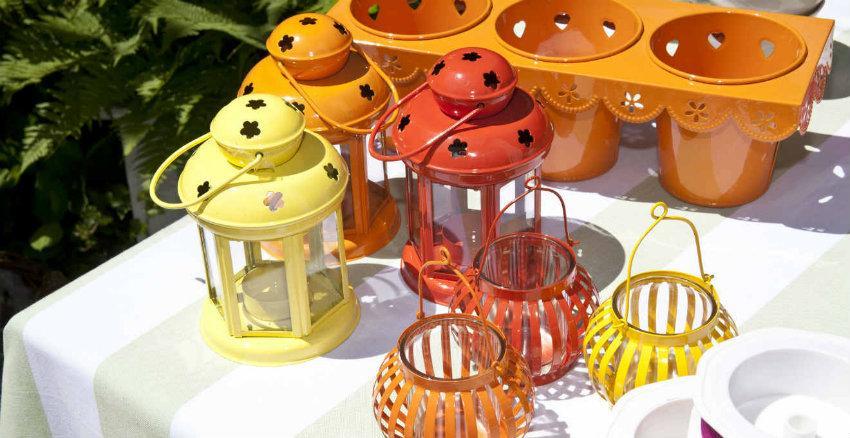 lanterne da esterno in ferro battuto colorate