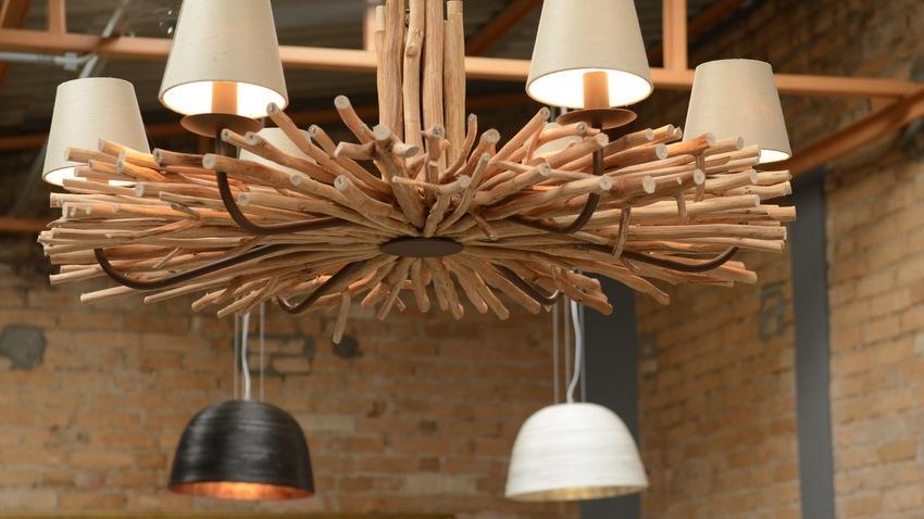 industriele houten hanglamp