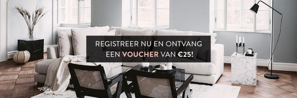 Banner Westwing woonkamer in moderne interieurstijl met voucher tekst Registreer nu en ontvang een voucher van 25 euro
