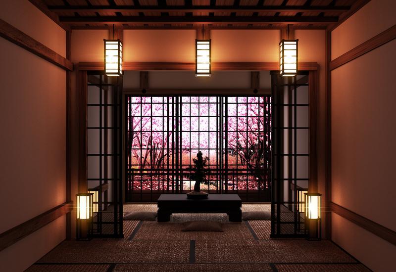 Oosterse wandlamp in cinese woonkamer