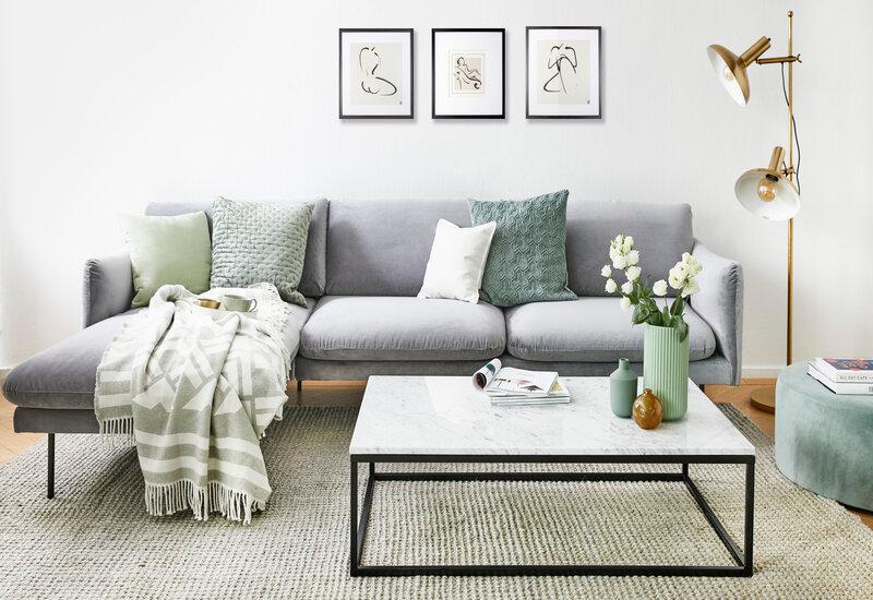 Vierkant witte salontafel in woonkamer