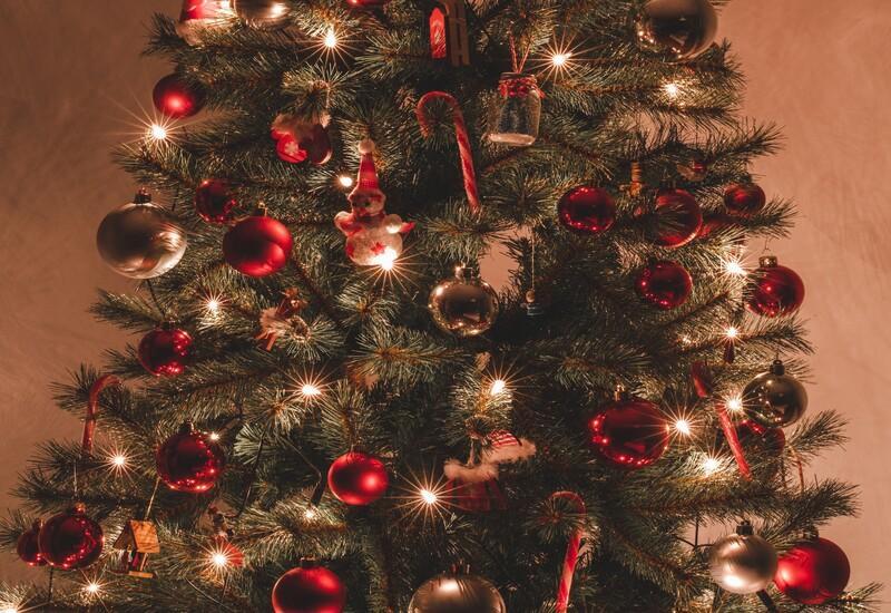Rode grote kerstboom