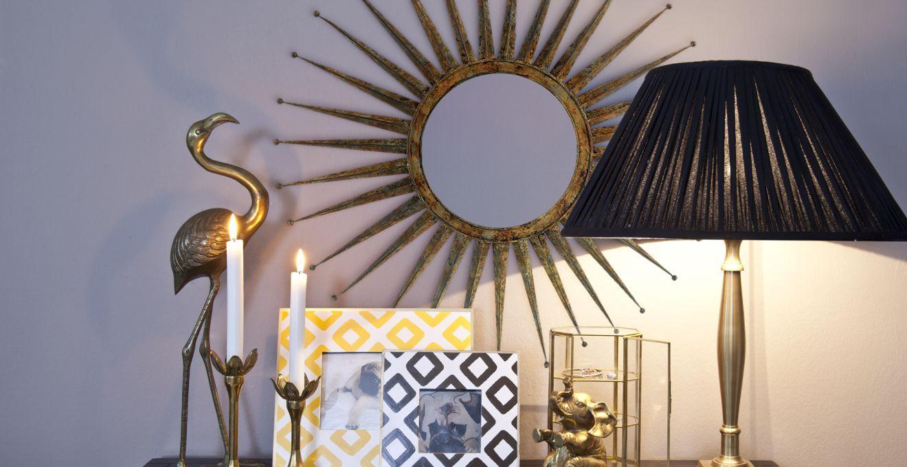 Nowoczesne lustra dekoracyjne w kształcie słońca
