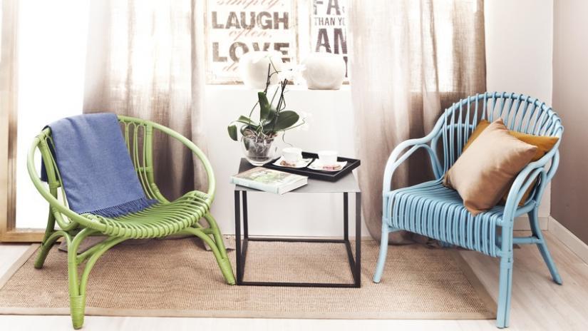 krzesło rattanowe zielone