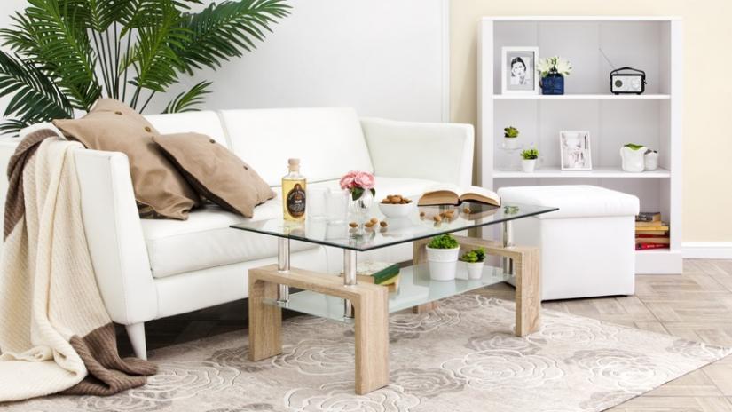 stół szklany w stylu skandynawskim
