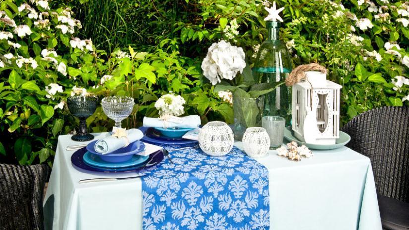 obrus ogrodowy niebieski