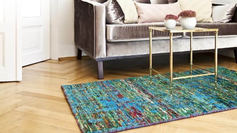 dywan turkusowy do salonu