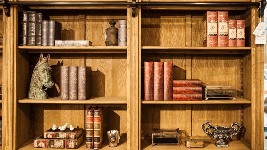 Półka dębowa na książki w stylu vintage