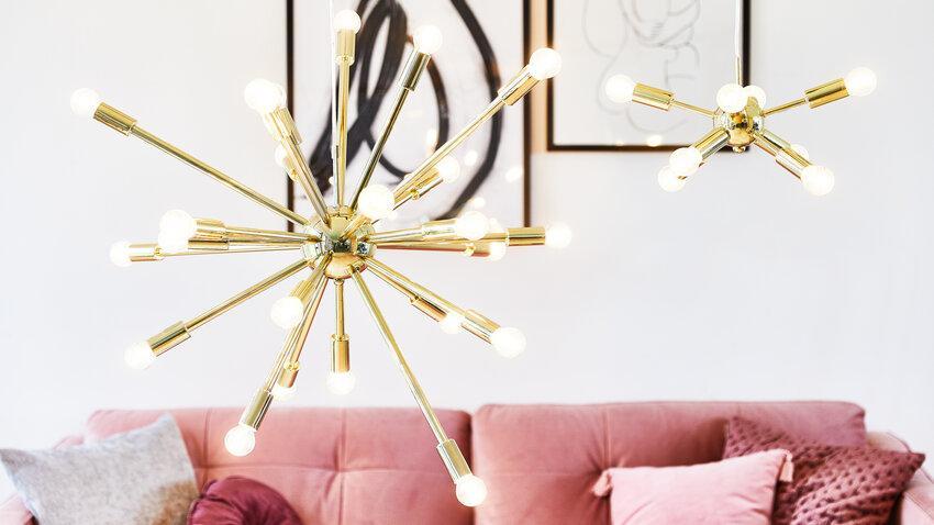 svietidlá do obývačky v zlatej farbe