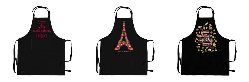 zwart schort klassieke stijl Franse teksten Eiffeltoren keukenshort