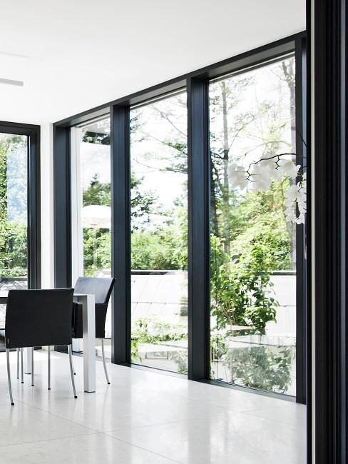 Fenster putzen: Große Fenster in Esszimmer
