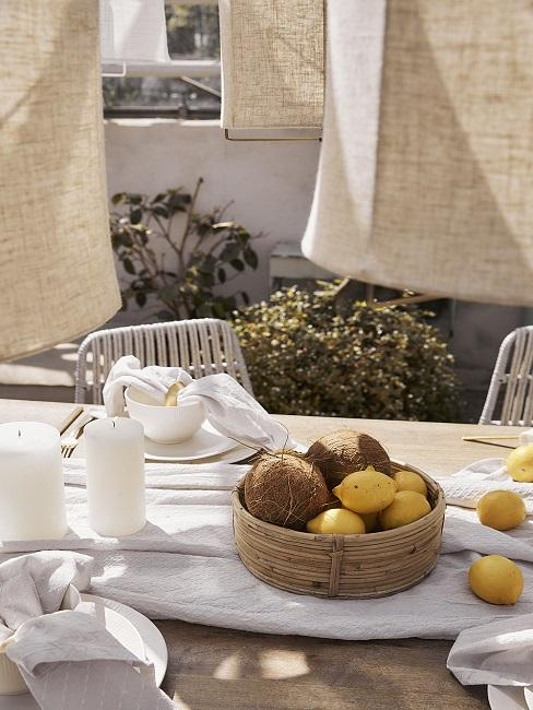 Zitronen Deko Kokosnüsse Korb