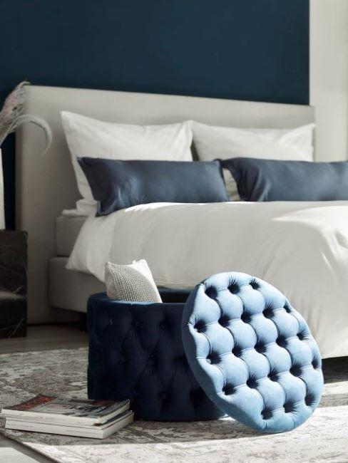 camera da letto colore grigio e blu