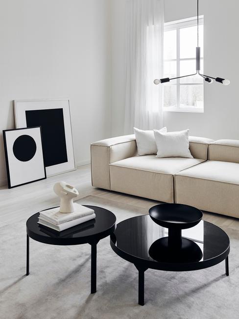 Modern klassieke woonkamer zwart wit beige