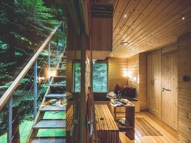 Zdjęcie wnętrza domku w drzewach