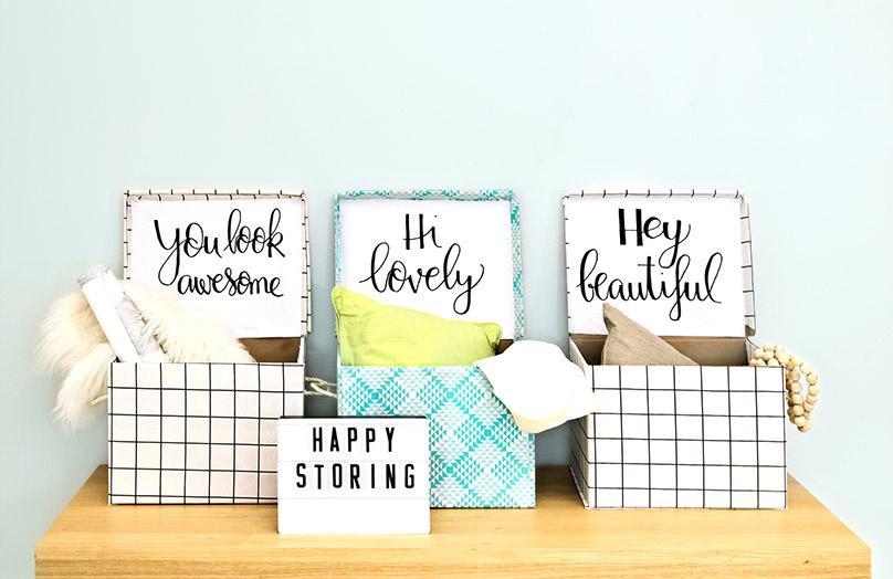 DIY: stylisches Makeover für Kartons