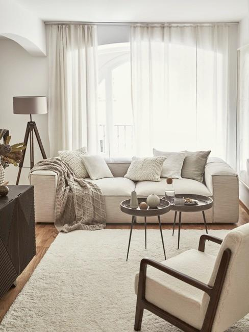 Salon w jasnych odcieniach z sofą w centralnym punkcie