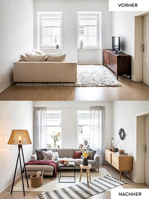 Vorher Nacher kleines Wohnzimmer im Skandi Look