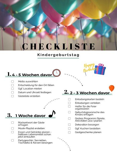 Checkliste für den Kindergeburtstag