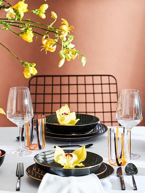 Tischdeko Schwarz Weiß Gold