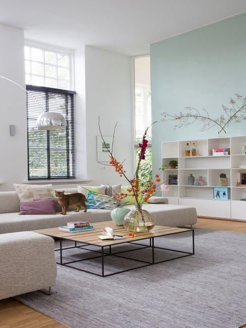 salon, sejour, livingroom avec canapes type lounge clairs et murs bleu pastel, decoration minimaliste