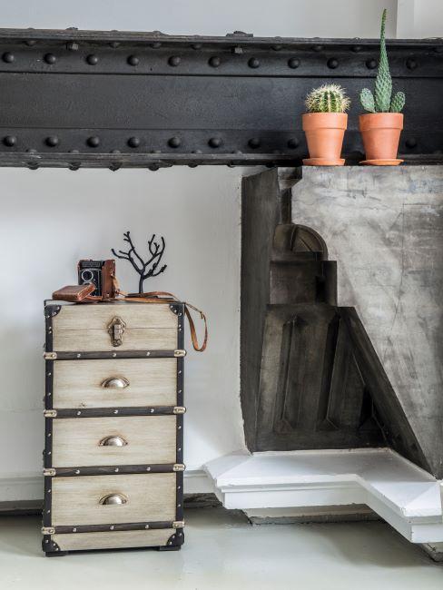 Rangement vintage, cactus et élément en tôle