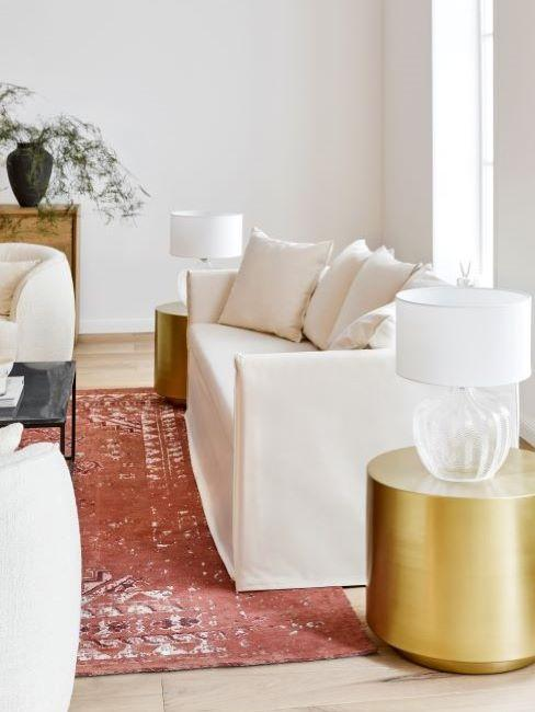 divano mila pouf dorato