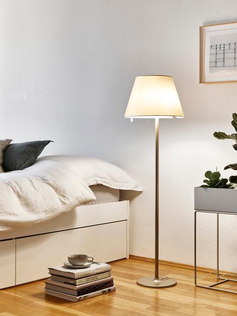 Wnętrze białej sypialni z łożkiem z szufladami, stojącą lampą oraz rośliną