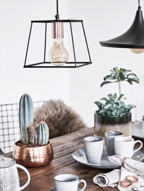 Decoración de mesa de madera con cactus y vajillas en tonos azules
