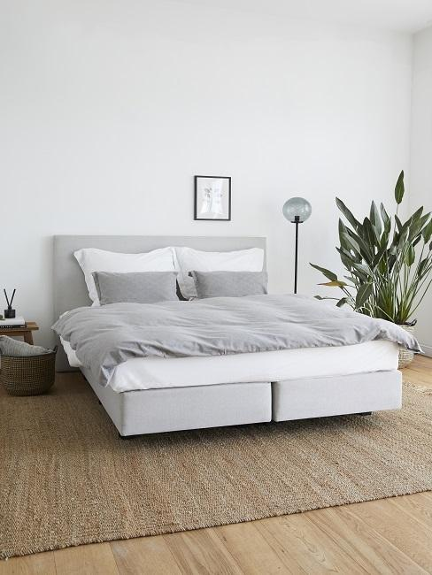 Lagom Wohntrend Schlafzimmer mit grauem Bett, Teppich aus Jute, Stehlampe und großer Zimmerpflanze