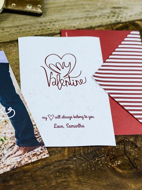 Valentinstag Sprüche Karte in wiß mit Spruch und Herz