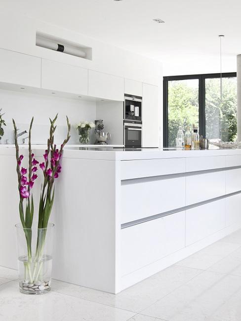 Küchen Design Ideen weiße Designer Küche mit Pflanzen