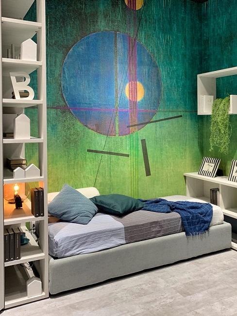 Kinderzimmer in Grün und Blau mit weißen und grauen Möbeln