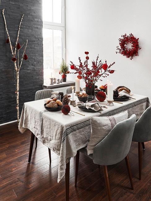 Tischdeko Weihnachten Blumen Tischdecke Kranz