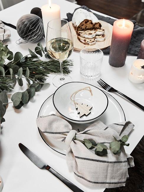 Tischdeko Weihnachten Eukalyptus Kerzen Porzellan