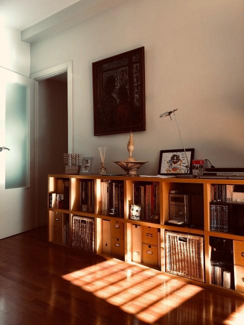 Salón con cómoda alargada compuesta de cuadrados de madera con libros y cajas
